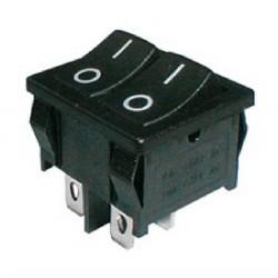Přepínač kolébkový 2x(2pol./2pin) ON-OFF dvojitý černý