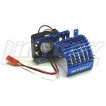 ALU chladič s ventilátorem 30mm pro motory 540/550 - Modrý