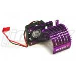 ALU chladič s ventilátorem 30mm pro motory 540/550 - Fialový
