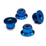 Ocelové matice 4mm s přírubou - modré