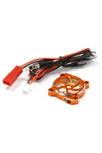 AKCE - ALU kryt chladiče 25x25mm s LED - Oranžový