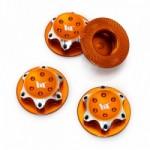 Hliníkové matice kola 17mm oranžové, 4 ks.