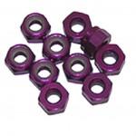 3 MM. ALU. samojistné matičky fialové (10 ks.)