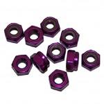 4 MM. ALU. samojistné matičky fialové (10 ks.)