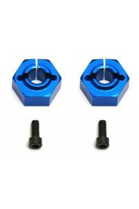 Factory Team 12 mm hliníkové modré unašeče kol, Buggy, zadní, 2 ks