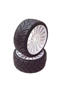1/8 GT Sport gumy SOFT nalepené gumy, bílé disky, 2ks